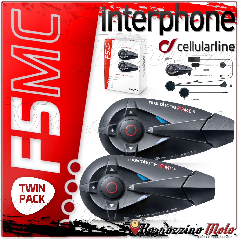 cellular line interphone f5mc twin main libre intercom moto bluetooth 3 0 neuf ebay. Black Bedroom Furniture Sets. Home Design Ideas