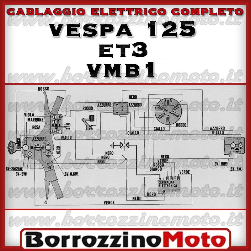 Schema Elettrico Vespa Et3 : Cablaggio impianto elettrico completo piaggio vespa