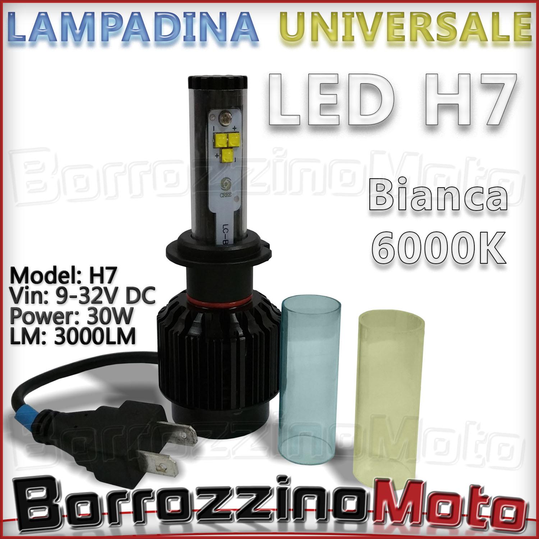 Lampadina a led h7 universale 30w 32v luce bianca azzurra for Lampadina lunga led