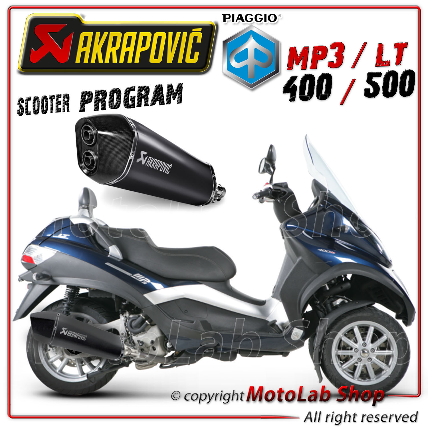 pot d echappement akrapovic conique hexagonal noire piaggio mp3 lt 500 2011 ebay. Black Bedroom Furniture Sets. Home Design Ideas