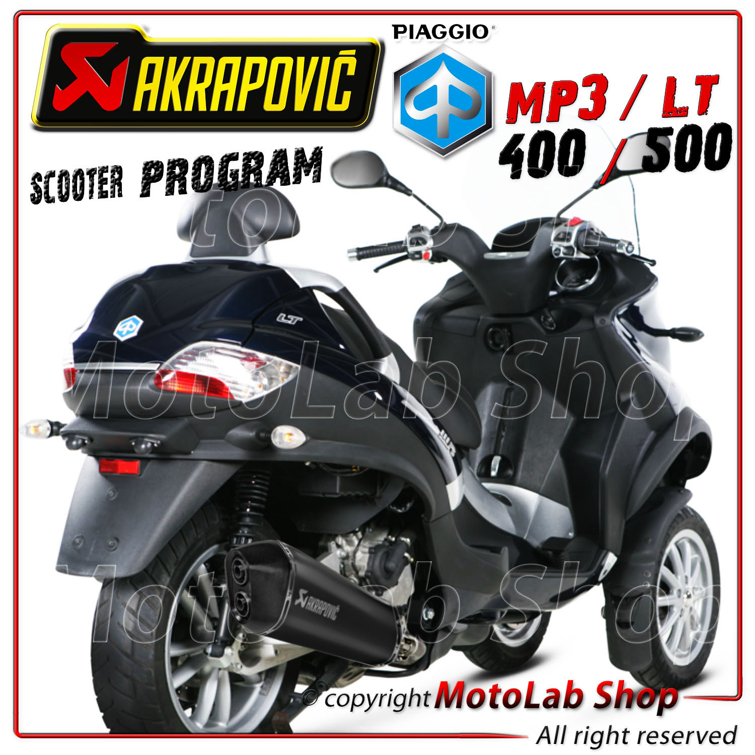 pot d echappement akrapovic conique hexagonal noire piaggio mp3 lt 500 2012 ebay. Black Bedroom Furniture Sets. Home Design Ideas