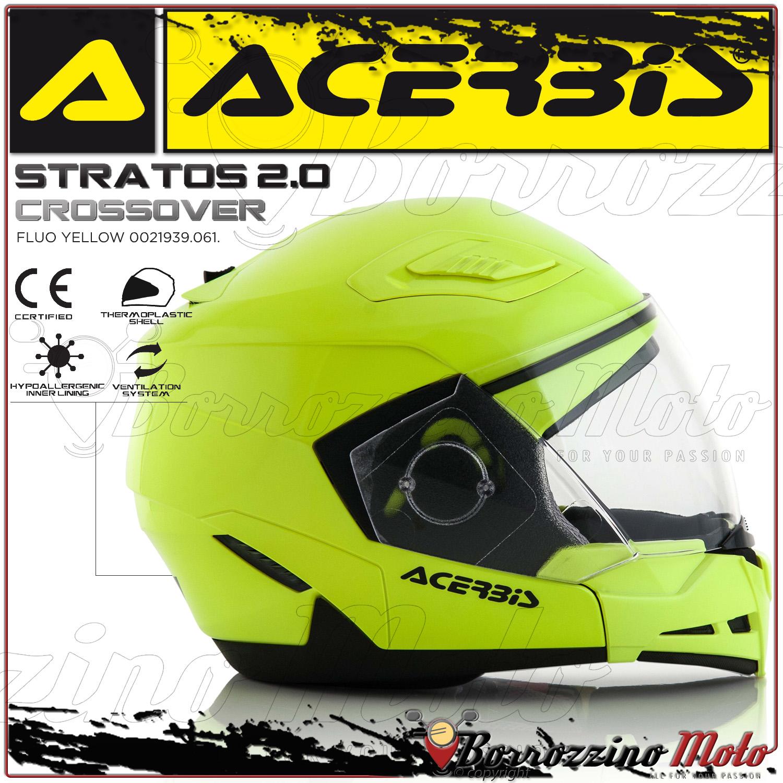 L CASCO MOTO SCOOTER ACERBIS STRATOS 2.0 CROSSOVER JET//INTEGRALE GIALLO FLUO TG